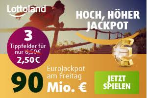 Produktbild von MEGA JACKPOT ANGEBOT: Eurojackpot – 3 Tippfelder für 2,50€ statt 6,50€