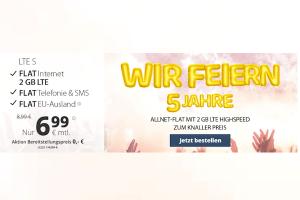 Produktbild von Nur für kurze Zeit: Allnet Flat inkl. 2GB LTE nur 6,99€ – Monatlich kündbar, Anschlussgebühr entfällt (sonst 14,99€)!