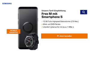 Produktbild von o2 Free M mit 10GB/20GB LTE für 34,99€/Monat + Galaxy S9 Plus + Gear S3 Smartwatch / Sennheiser CX6 Bluetooth-Kopfhörer