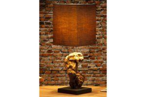 Produktbild von Design Treibholz Lampe HYPNOTIC braun Tischlampe Handarbeit mit echtem Leinenschirm