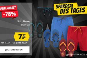 Produktbild von Sth. Shore Beach Set bestehend aus Badehose + Zehentrenner in verschiedenen Farben für nur 7,77 € statt 35,99 €!