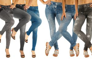 Produktbild von 3er- oder 6er-Pack Slim-Jeggings in Jeans-Optik in Grau, Schwarz und Denim-Blau