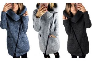 Produktbild von Damen-Strickjacke mit Reißverschluss in Schwarz, Blau oder Grau