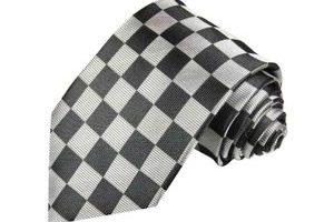 Bild von Paul Malone – Krawatte silber grau schwarz kariert – Karierte Herren Krawatte 100% Seide Normal lang 150cm / Normale Breite 8cm / Krawatte