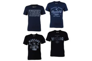 Produktbild von 4er Pack Mustang Herren T-Shirt mit Frontprint und Rundhalsausschnitt – Motivmix