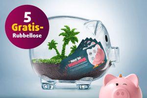 Produktbild von Knack` das Sparschwein, gewinne 2500 Euro! Jetzt 5 Rubbellose gratis