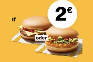 Produktbild von 2 Cheeseburger oder 2 Chickenburger für 2€ bei McDonalds über die McDonalds App
