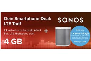 Produktbild von Sonos Play:1 für 25€ + Alles-Flat + 4GB LTE für 14,99€/Monat = 125€ Gesamtkosten für Sonos (Wert: 170€)