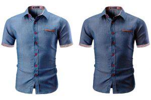 Produktbild von Hemd in Denim-Optik in Hellblau oder Dunkelblau und in der Größe nach Wahl für Herren