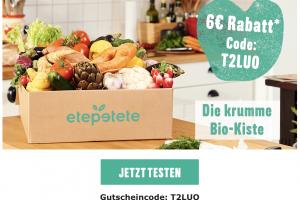 Produktbild von 6€ Sofortrabatt auf deine nächste etepete Box! Bio-Kiste voller krummem Obst und Gemüse – CODE: T2LUO