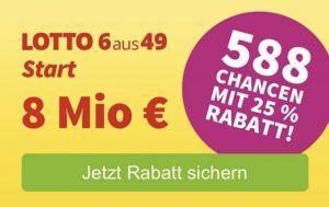 Bild von Lotto Start Systemschein mit 588 Reihen und 25% Rabatt (auch Bestandskunden)