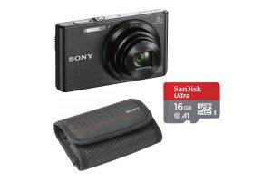 Produktbild von Sony Cyber-shot DSC-W830B mit 16GB SD Karte und Tasche Bundle