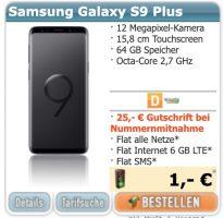 Bild von Samsung Galaxy S9 Plus + Klarmobil AllNet Flat 6 GB LTE für 39,99€