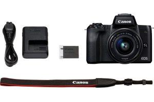 Bild von Canon »EOS-M50 EF-M15-45 Kit« Systemkamera (EF-M 15-45, 24,1 MP, NFC, WLAN (Wi-Fi), Bluetooth, + Rucksack CB-BP110 + 32GB SD Class 10 + 10 € FGS), schwarz