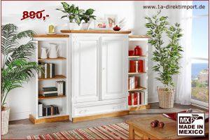 Bild von 1a Direktimport Schrank Wohnschrank Mexico, Pinie weiß / honig, Landhausstil Möbel, shabby