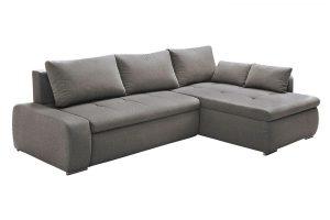 Bild von Sofa Couch AMIRA B 260 x T 181 cm Grau mit Bettfunktion & Bettkasten inkl. Kissen