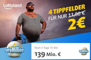 Produktbild von Erhalte zur EuroMillions Superziehung 4 Tippfelder für nur 2 € und ermögliche dir damit die Chance auf 139 Millionen Euro