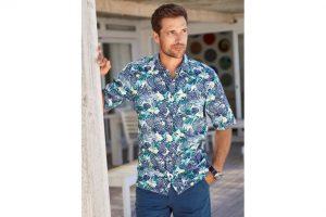Bild von Walbusch Herren Hemd Kurzarmhemd Hawaii Regular Fit 100% Baumwolle gemustert Blau/Grün