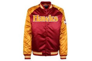 Bild von Mitchell & Ness Though Season Satin Atlanta Hawks  Collegejacke rot orange