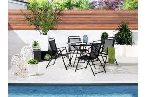 Bild von Beliani Gartenstuhl schwarz Aluminium klappbar 4er Set LIVO