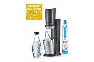 Bild von SodaStream Crystal 2.0 Wassersprudler inkl. 1 Zylinder und 2 Glaskaraffen 0, 6l Farbe: Titan Trinkwassersprudler, Gebürsteter Stahl, Silber, 22 x 11 x 42 cm
