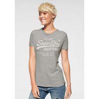 Bild von Superdry T-Shirt PREMIUM GOODS RHINESTONE CRACK ENTRY TEE mit bunten Glitzersteinen grau