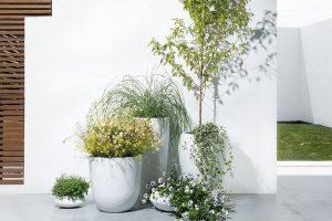 Bild von BELIANI Blumenkübel weiss rund 23 x 23 x 13 cm ISEO
