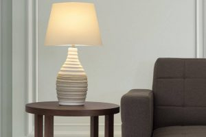 Bild von BELIANI Tischleuchte helles Beige 56 cm TORMES