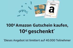 Bild von 10 € Amazon-Gutschein bei Kauf eines Gutscheins im Wert von min. 100 €