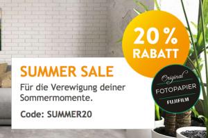 Produktbild von Summer Sale: 20% Rabatt EXTRA auf Fotobücher, Fotos, Poster, Wanddeko, Kalender, Grusskarten, Geschenke – Gutscheincode: SUMMER20