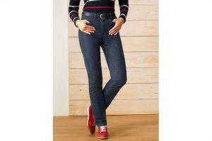 Bild von Walbusch Damen Jeans-Hose Slim Fit Blau einfarbig elastisch mit flexiblem Bund