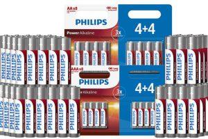 Bild von 24, 32, 48 oder 72 Philips Power Alkaline AA- oder AAA-Batterien