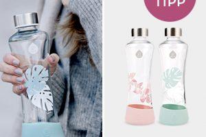 Bild von Equa Glas-Trinkflasche – 5 Designs – Mit Wunsch-Gravur auf dem Deckel
