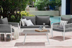 Bild von Gartenmöbel Set für 4 Personen grau LATINA