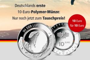 """Bild von Jetzt tauschen: 10-Euro-Münze BRD """"In der Luft"""""""
