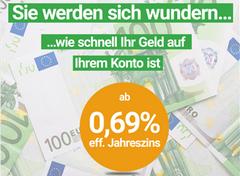 Bild von Dein Wunschbetrag: Geldbeträge bis 50.000€ können ab einem eff.Jahreszins von 0,69% erhalten oder 1000€ ab einem eff. Jahreszins von -0,4% ( GRATIS)