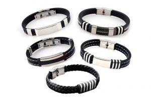 Bild von 1x, 3x oder 5x Herren-Armband aus Leder-Edelstahl-Kombination im Modell nach Wahl