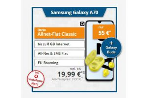 Bild von Samsung Galaxy A70 + Samsung R170 Galaxy Buds+ Otelo Allnet-Flat Classic (7 GB mit 21,6 Mbit/s) = 19,99 € mtl.