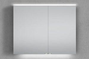 Bild von Spiegelschrank 90 cm integrierte LED Beleuchtung doppelt verspiegelt