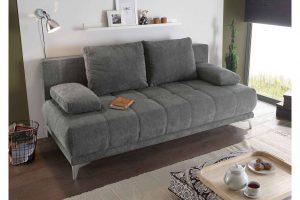 Bild von Lifestyle4Living Schlafsofa in steingrauem Microvelourstoff mit Bettkasten, Schlaffunktion und Armteilverstellung