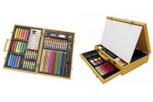 Produktbild von Holzkoffer mit Mal- und Zeichen-Accessoires, optional mit Staffelei für junge Künstler