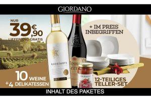 Bild von Großes Weinpaket: 10 Weine + 4 Delikatessen + 12-teiliges Teller Set + Lieferung Gratis = 39,90€