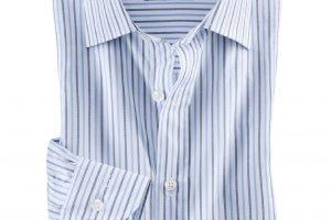 Bild von Masterclass Herren Hemd Masterclass-Vollzwirn Regular Fit kariert Streifen Bleu/Weiß