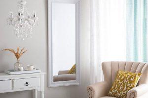 Bild von BELIANI Wandspiegel weiss/silber rechteckig 50 x 130 cm VERTOU