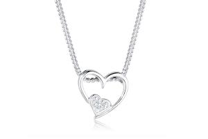 Bild von Elli PREMIUM Halskette Herz Liebe Diamant (0.03 ct.) 925 Sterling Silber Weiß / 45 cm