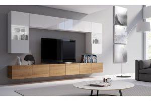 Bild von Selsey Living Wohnwand Augusta in der Farbe nach Wahl, optional mit LED in Blau oder Weiß