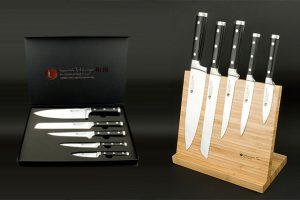 Bild von Izumi Ichiago 5-tlg. Chefmesser-Set aus japanischem High-Carbon-Edelstahl, optional mit Magnetständer und Schleifstein