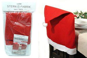 Bild von MC Trend 4er Set Stuhlhussen für Weihnachten als Weihnachtsmann-Mütze Deko