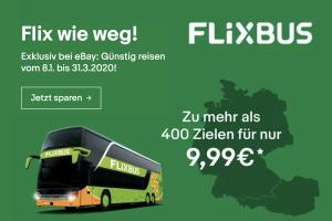 Produktbild von FlixBus Voucher einfache Fahrt für Deutschland und Österreich für nur € 9,99 pro Person
