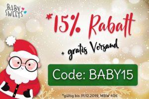Bild von -15% Rabatt auf Alles! Baby Sweets mit tollen Weihnachtsrabatten! Code: BABY15